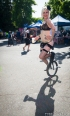 In costume and on a unicycle at the 2014 Lagunitas Beer Circus in Petaluma CA. Photo Melissa Uroff