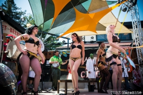 The Moral Minority stage at the 2014 Lagunitas Beer Circus in Petaluma CA is full of traditional circus acts including sideshow acts intertwined with burlesque. Photo Melissa Uroff