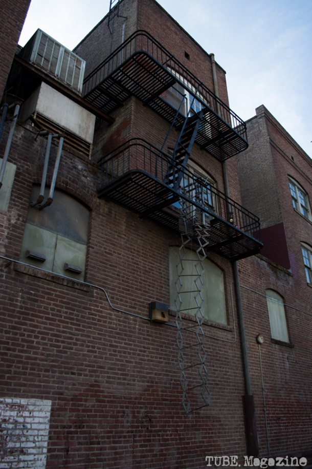 A broken fire escape in Kayak Alley.  Photo M.Hershenow. 2014.