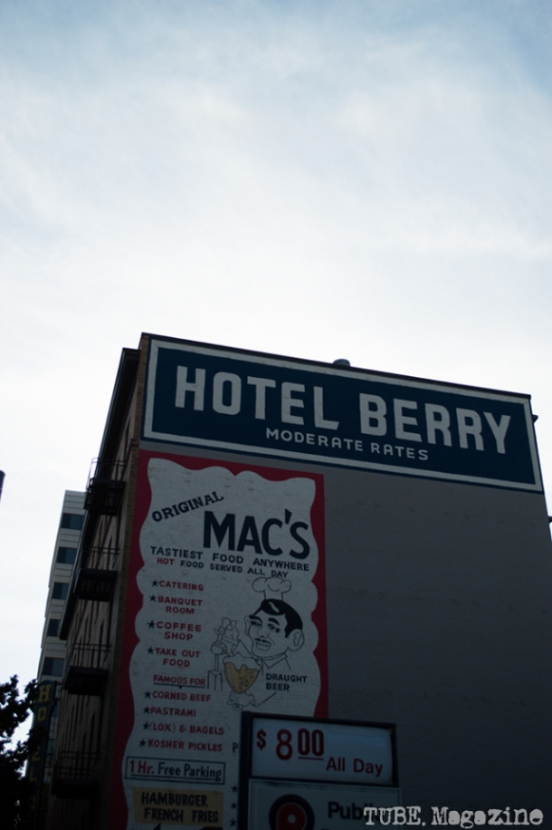 The Hotel Berry, one of a number of old hotels in downtown. Photo M.Hershenow. 2014.