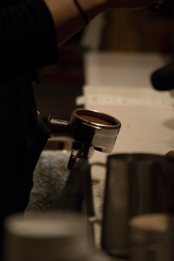 The barista's portafilter, where all espresso drinks begin. Photo M.Hershenow. 2014