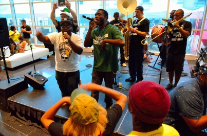 Feeling the FLOW -- ZFG artists Paul Willis and Aerial spit freestyles over the tunes of Element Brass Band at Crocker Art Museum's Hip Hop ArtMix. Photo: Alexander Amaya