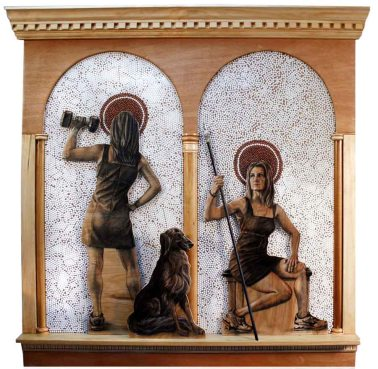 "Atemis Redux Charcoal on plywood, white and copper BB pellets, pen nib, hand built wooden altar : 38""W 40""H"