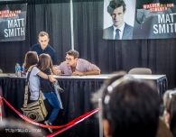 Matt Smith aka The Doctor talking to a small fan