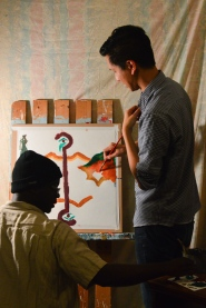 Darryl Lewis and Jim Shepherd beginning on a piece during a paint party.