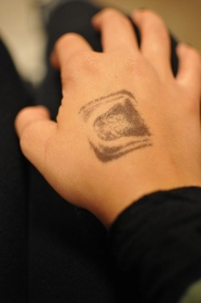 Stamped and ready for the show to begin at Shine. Sacramento CA. 2015. Photo Emma Montalbano.