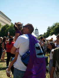 Brady Lininan, Sacramento, shares a moment with his niece, Kyhlie, during Walk a Mile in Her Shoes. Photo: Kate Gonzales
