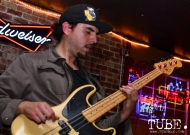 Luis Mayorga bass player of Paisano at the Hideaway for The Wall art show presented by TUBE. Sacramento, CA. Photo Alejandro Montaño