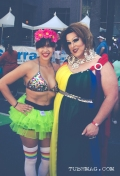 Festival goers pose for the camera at Sac Pride 2015, Photo Sarah Elliott