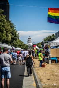 Flags blowing, people walking and the capitol in the distance at Sac Pride 2015, Photo Sarah Elliott