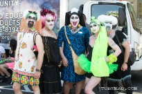 Members of Reno's Biggest Little Sisters of Perpetual Indulgence, a sister group of Sacramento's Capitol City Sisters, a queer order of Nuns meant to empower the community by spreading Joy and Love at Sac Pride 2015. Sacramento, CA. 2015. Photo Alejandro Montaño.