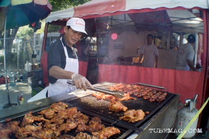A vast amount of chicken being grilled for the hungry people of Sac Pride 2015. Sacramento, CA. 2015. Photo Alejandro Montaño