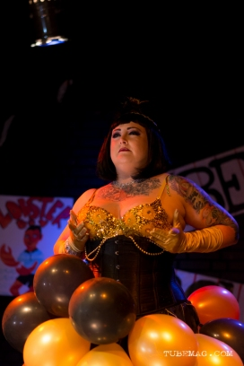 Patty La Melt of Sacramento burlesque troop The Sizzling Sirens performing at the TUBE. Circus at the Blue Lamp. Sacramento CA. May 15, 2015. Photo Sarah Elliott.