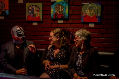 Patrons of the TUBE. Circus along with Mark Fox's art at the Blue Lamp in Sacramento CA. May 15, 2015. Photo Sarah Elliott.