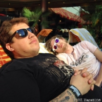 TUBE. Journalists Jordan and Sven having some much needed relaxation by the pool at the Golden Nugget in Las Vegas Nevada. May 2015. Photo Melissa Uroff