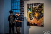 "Beatnik Studios opening reception of ""Some Kind of Accident"" July 10, 2015, downtown Sacramento CA. Artwork featured by Emily Swinsick Photo Sarah Elliott"