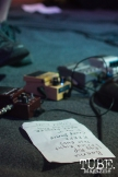 Gentleman Surfer's set list and bass guitar pedals on stage at Cafe Colonial in Sacramento, CA. August 2015. Photo Alejandro Montaño