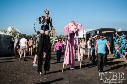 Niki Hall and Lindsay Davis of Quircus on stilts at TBD Fest in Sacramento, Ca. September 2015. Photo Heather Uroff