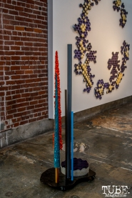 "A tall free standing sculpture in front of A to Z"". Musical Chairs by Robert Ortbal at Beatnik Studios. Photo Sarah Elliott. 2015"
