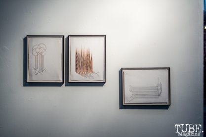 """Ortbal's drawings are also on view"" Musical Chairs by Robert Ortbal at Beatnik Studios. Photo Sarah Elliott. 2015"