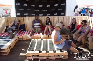 TBD goers staying out of the sun at the Official lounge at TBD Festival in Sacramento, Ca. September 2015. Photo Alejandro Montaño
