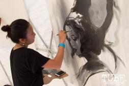 Franceska Gamez (@ewfrank) was the winner of the Kuretake paint off at TBD Festival in Sacramento, Ca. September 2015. Photo Alejandro Montaño