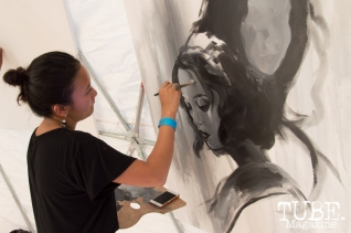 Franceska Gamez (@ewfrank) was the winner of the Kuretake paint off at TBD Festival in Sacramento, Ca. September 2015. Photo Alejandro Montaño