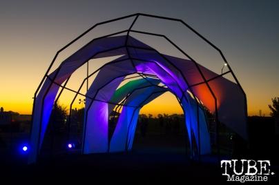 The glowing exit of TBD Festival in Sacramento, Ca. September 2015. Photo Alejandro Montaño