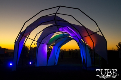The glowing exit of TBD Festival in Sacramento, Ca. September 2015. Photo Alejandro Montaño