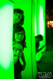 Sven Olai, Kate Gonzales, Andy Simpson and Tiffany Allen playing in TBD Fest's light up art installation. Photo Melissa Uroff.