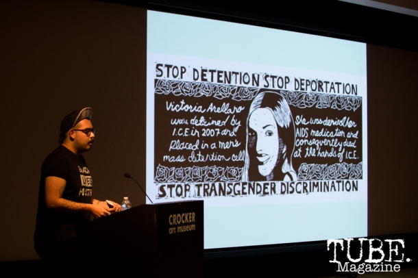 Chucha Marquez speaks on Art Beyond Fear: Art and Activism at The Crocker Art Museum in Sacramento, Ca. November 2015. Photo Alejandro Montaño.