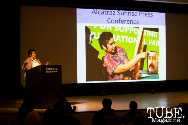 YaYa Porras speaks on Art Beyond Fear: Art and Activism at The Crocker Art Museum in Sacramento, Ca. November 2015. Photo Alejandro Montaño.