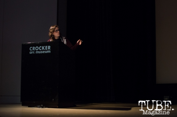 Sarah Wellington speaks on Art Beyond Fear: Art and Activism at The Crocker Art Museum in Sacramento, Ca. November 2015. Photo Alejandro Montaño