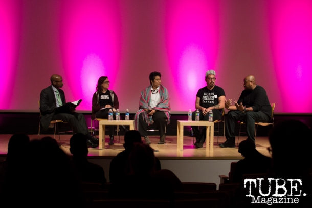 Panal discussion and audience Q&A with the artists, led by Ranon Maddox (far left) at the Art Beyond Fear: Art and Activism program at The Crocker Art Museum in Sacramento, Ca. November 2015. Photo Alejandro Montaño.