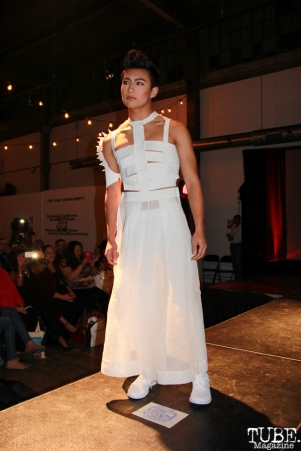 Model at Fashion on Film for Hill Tribe designers, Beatnik Studios, Sacramento, CA. February 24, 2016. Photo Anouk Nexus