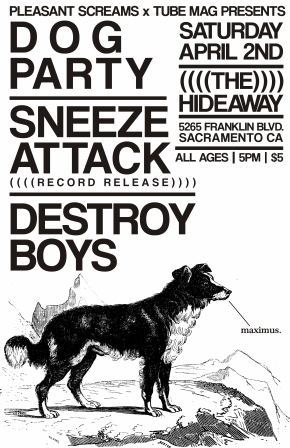 TUBE. & Pleasant Screams Present: Dog Party, Sneeze Attack & Destroy Boys