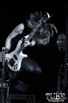 Bassist Gina Salatino of Some Fear None playing at the Ace of Spades in Sacramento, CA. March 2016. Photo Alejandro Montaño