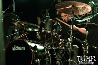 Drummer Ronnie Farris of Devour the Day playing at the Ace of Spades in Sacramento, CA. March 2016. Photo Alejandro Montaño
