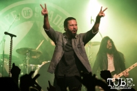 Vocalist Leigh Kakaty of Pop Evil playing at the Ace of Spades in Sacramento, CA. March 2016. Photo Alejandro Montaño