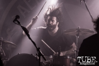 Drummer Chachi Riot of Vocalist Leigh Kakaty of Pop Evil playing at the Ace of Spades in Sacramento, CA. March 2016. Photo Alej