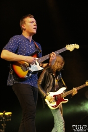 Brad Shultz rhythm guitarist and Daniel Tichenor bassist of Cage the Elephant, Spring Fling at Sleep Train Arena, Sacramento, CA. March 12, 2016. Photo Anouk Nexus