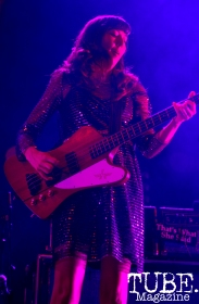 Bass player of Silversun Pickups, Nikki Monninger, plays at Spring Fling Rock AF tour in Sacramento, CA, March 12, 2016.