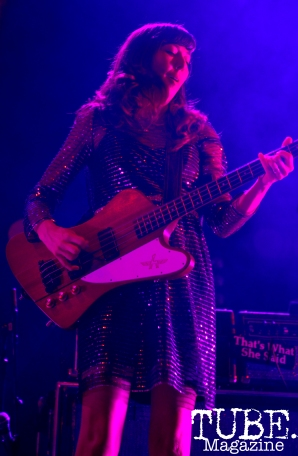 Bass player of Silversun Pickups, Nikki Monninger, plays at Spring Fling Rock AF tour in Sacramento, CA, March 12, 2016.