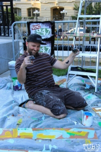 John Klaiber featured painter for Concerts in the Park, Cesar Chavez Park, Sacramento, CA. May 13, 2016, Photo Anouk Nexus