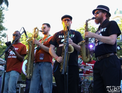 Horn section for Element Brass Band, Concerts in the Park, Cesar Chavez Park, Sacramento, CA. May 13, 2016, Photo Anouk Nexus