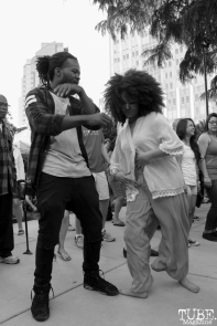 Luke Tailor and fellow audience member dancing, Concerts in the Park, Cesar Chavez Park, Sacramento, CA. May 13, 2016, Photo Anouk Nexus