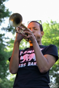 Trumpet player for Element Brass Band, Concerts in the Park, Cesar Chavez Park, Sacramento, CA. May 13, 2016, Photo Anouk Nexus