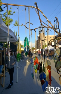 Stain glass feathers from vender Aradia Glass Craft at the R Street Block Party in Sacramento, California on Saturday 21, 2016.