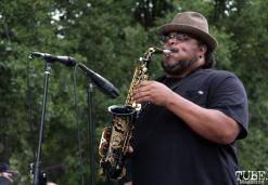 Who Cares saxophonist and flutist, Jammal Tarkington, Concerts in the Park, Cesar Chavez Park, Sacramento, CA. June 17, 2016. Photo Anouk Nexus