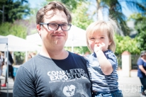 Musician David Adams and his son Elliot at the Crocker Block by Block Party in District 5, July 9, Sacramento CA. Photo Melissa Uroff